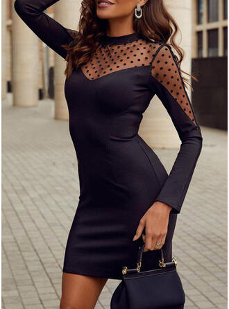 Solid/PolkaDot Long Sleeves Bodycon Above Knee Little Black/Party/Elegant Dresses