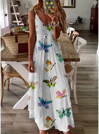 Animal Print Sleeveless A-line Slip/Skater Casual Maxi Dresses