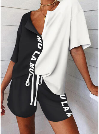 Color Block Print Letter Casual Sporty Drawstring Pants Two-Piece Outfits
