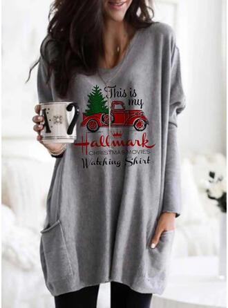 Print Pockets Letter Round Neck Long Sleeves Christmas Sweatshirt