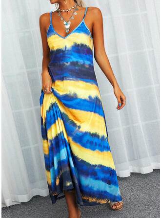 Striped Sleeveless Shift Slip Casual Maxi Dresses