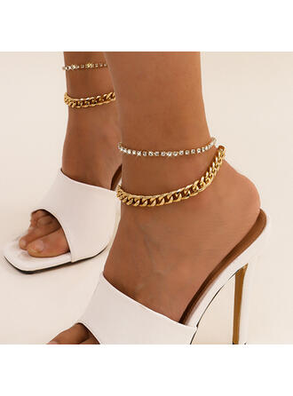 Sexy Charming Artistic With Rhinestone Gold Plated Women's Ladies' Anklets 2 PCS