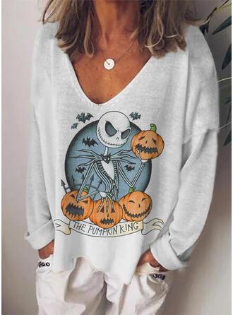 Halloween Print Knit V-Neck Long Sleeves T-shirts