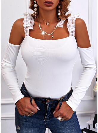 Solid Cold Shoulder Long Sleeves Cold Shoulder Sleeve Elegant Blouses