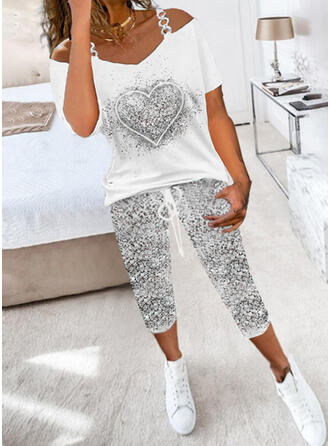 Print Heart Casual Sporty Plus Size Drawstring Pants Two-Piece Outfits