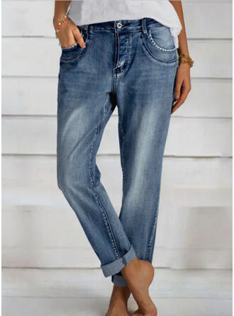 Solid Long Elegant Shirred Pants Denim & Jeans