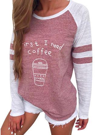 Print Color Block Round Neck Long Sleeves Sweatshirt