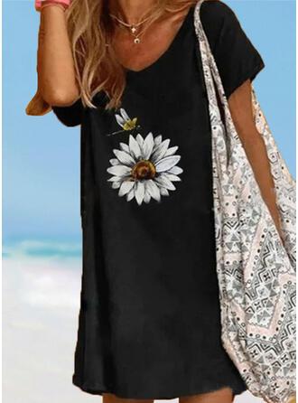 Floral Print Strap V-Neck Vintage Fresh Plus Size Cover-ups Swimsuits