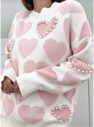 Print Beaded Heart Round Neck Casual Sweaters