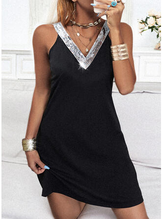 Sequins/Solid Sleeveless Sheath Above Knee Little Black/Casual Tank Dresses