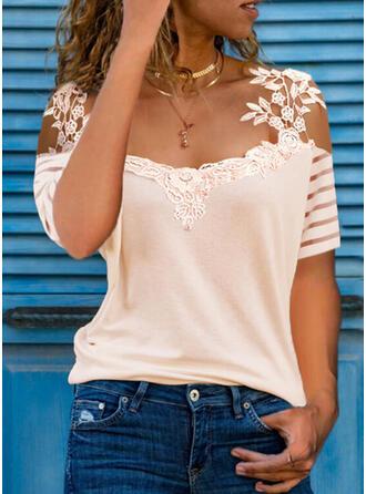 Solid Lace Cold Shoulder Short Sleeves Elegant Blouses