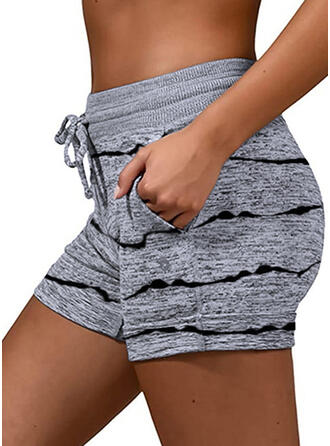 Striped Plus Size Drawstring Casual Sporty Stretchy Shorts