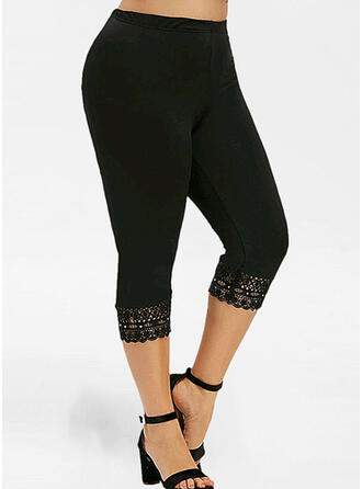 Solid Lace Capris Casual Sporty Plus Size Jacquard Hollow Out Pearl Leggings