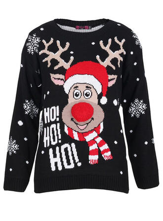 Unisex Polyester Reindeer Letter Ugly Christmas Sweater