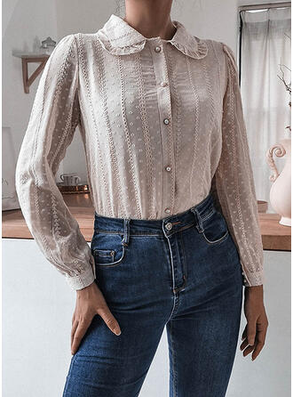 Solid Lapel Long Sleeves Casual Blouses
