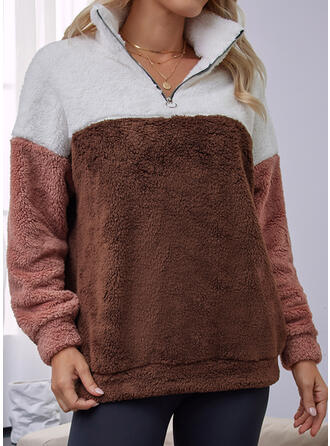 Print Color Block Letter Lapel Long Sleeves Sweatshirt