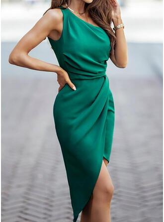 Solid Sleeveless Sheath Knee Length Elegant Dresses