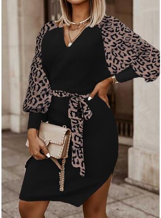 Leopard V-Neck Casual Sweater Dress