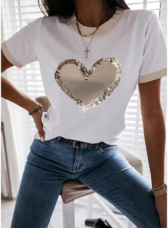 Heart Print Sequins Round Neck Short Sleeves T-shirts