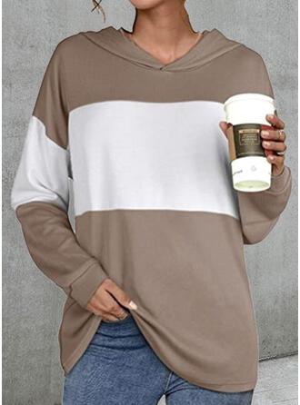 Color Block Hooded Long Sleeves Sweatshirt