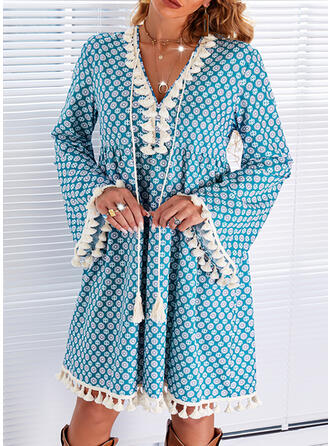 Print Long Sleeves Flare Sleeve Shift Above Knee Casual Tunic Dresses