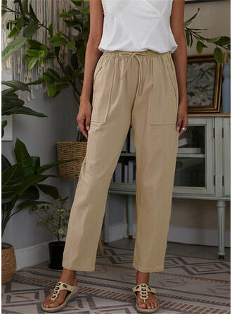 Solid Cropped Casual Pants