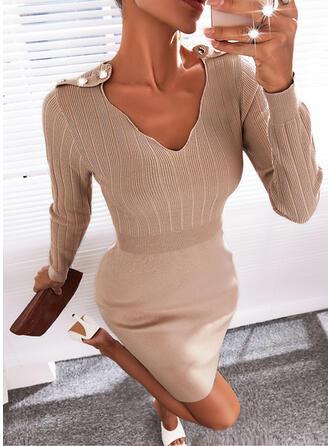 Solid Long Sleeves Sheath Above Knee Elegant Sweater Dresses