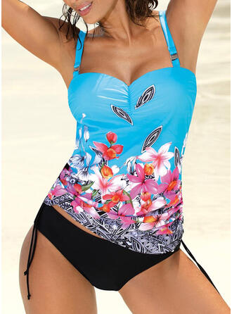 Floral Strap Vintage Colorful Tankinis Swimsuits
