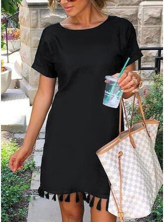Print/Tassel Short Sleeves Shift Above Knee Little Black/Casual Tunic Dresses