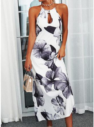 Print/Floral Sleeveless Shift Casual Maxi Dresses