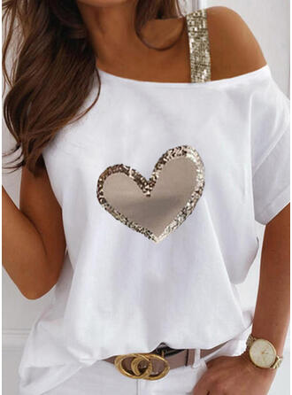 Print Sequins Heart One Shoulder Short Sleeves Casual Blouses