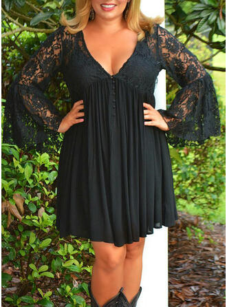 Lace/Solid Long Sleeves/Flare Sleeves Sheath Above Knee Little Black/Elegant Dresses