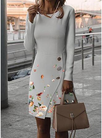 Print/Floral Long Sleeves Sheath Knee Length Elegant Dresses