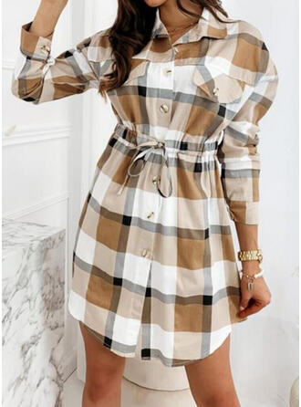 Plaid Long Sleeves A-line Above Knee Casual Skater Dresses