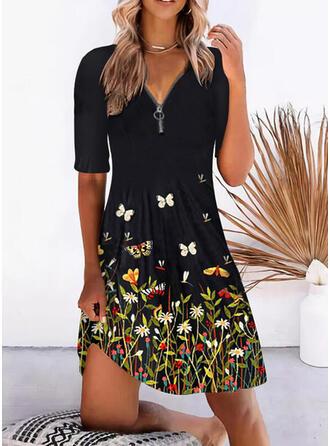Print/Floral/Animal Short Sleeves A-line Knee Length Casual Skater Dresses