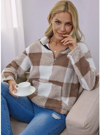 Plaid Round Neck Long Sleeves Sweatshirt