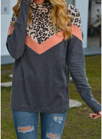Print Color Block Leopard High Neck Long Sleeves Sweatshirt