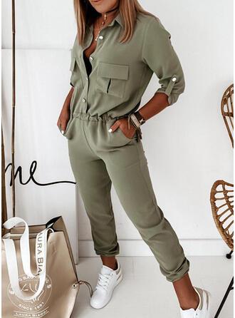 Solid Lapel 3/4 Sleeves Casual Elegant Jumpsuit