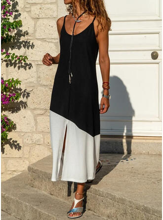 Color Block Sleeveless Shift Slip Casual Midi Dresses