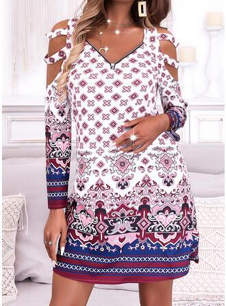 Print Long Sleeves Cold Shoulder Sleeve Shift Above Knee Casual/Boho Tunic Dresses