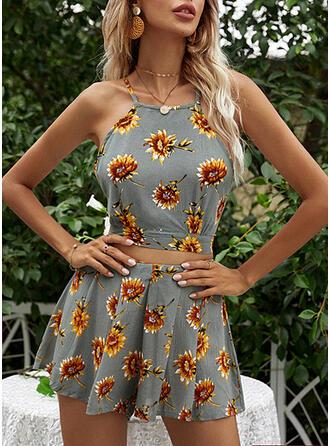 Floral Print Casual Shorts