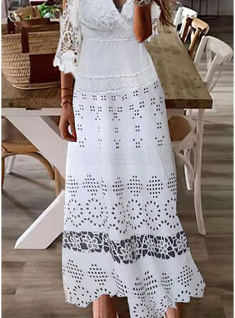 Solid Lace 1/2 Sleeves Cold Shoulder Sleeve A-line Skater Casual Maxi Dresses