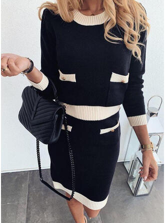 Color Block Pocket Round Neck Casual Long Sweater Dress