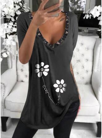 Floral Print Sequins Letter V-Neck Short Sleeves T-shirts