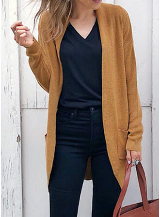 Polyester Long Sleeves Solid Pocket