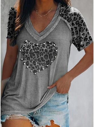 Beaded Leopard Heart V-Neck Short Sleeves T-shirts
