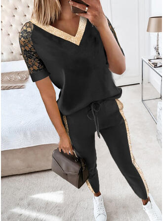 Lace Plus Size Drawstring Casual Sporty Suits