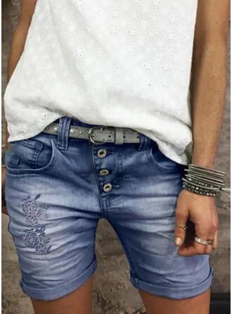 Above Knee Vintage Shirred Pants Shorts Denim & Jeans