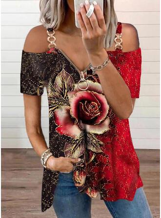 Print Color Block Floral Cold Shoulder Short Sleeves Casual Blouses