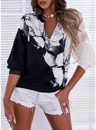 Print Floral V-Neck Long Sleeves Sweatshirt